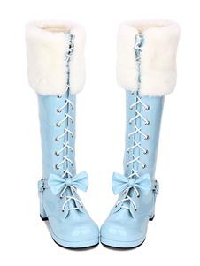 الحلو لوليتا أحذية فو الفراء الدانتيل يصل القوس مكتنزة كعب الأزرق لوليتا الفخذ أحذية عالية