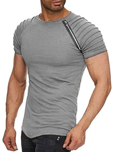 Camiseta 2020 Manga Curta Zipper Ruched Slim Fit Manga Raglan T Shirt Para Homens