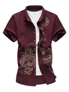 القطن الرجال القميص زائد الحجم التنين الصيني طباعة عادية تناسب قصيرة الأكمام القميص عادية 2020