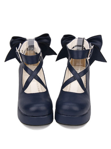 Calzado Sweet Lolita Calzado Stappy Hebilla Cuña Talón Zapatos de Lolita Blancos