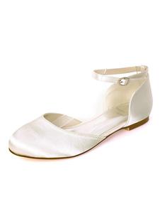 Zapatos de novia de satén 0.5cm Zapatos de Fiesta Zapatos marfil  Plana Zapatos de boda de puntera redonda