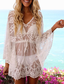 Белый Beach Cover Up Dress Sheer Lace V Neck Long Sleeve Women Bathing Suit