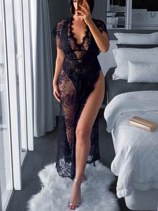 Vestido de noche negro con cuello en V y Semi Sheer Sexy