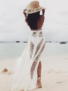 Женщины Sheer Cover Up Вязаные Fringe Cut Out Sarong Beachwear