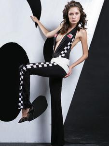 Disfraz Carnaval Disfraz de piloto de carreras de autos Mujeres atractivas de Halloween que hunden monos negros de cuadros Carnaval
