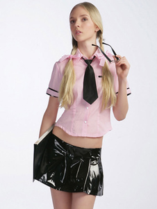 Sexy Student Costume Halloween Rosa Mulheres Saia Top Outfit 4 Piece