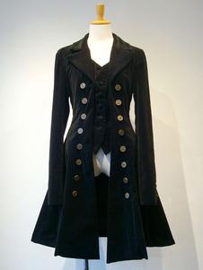 Abrigo de Lolita gótico Abrigo de Lolita plisado de 2 piezas de pana breasted Fake doble