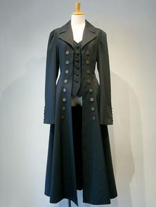 Готика Lolita Шинель Двойной Breasted Fake 2 шт Черное лототическое пальто Lolita