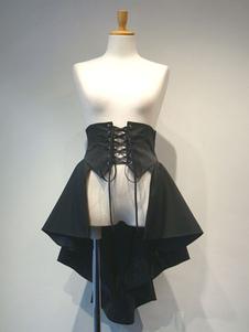Gothic Lolita SK Laceuo Высокое низкоуровневое рябь Черная юбка Lolita