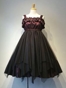Gothic Lolita JSK Ruffle Плиссированная двухцветная тюль Черная юбка Lolita Jumper