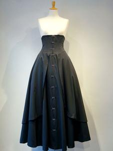 القوطية لوليتا SK القطن الطبقات الكشكشة مطوي الدانتيل يصل تنورة سوداء لوليتا