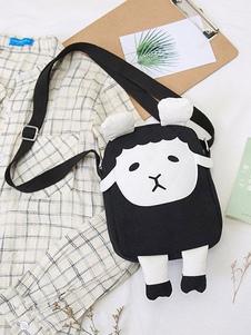 ブラックロリータバッグキャンバス羊のデザインカラーブロックロリータショルダーバッグ