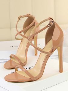 Sandálias De Salto Alto 2020 Nude Dedo Do Pé Aberto Cruzado Sandália De Salto De Salto Alto Sapatos Para As Mulheres