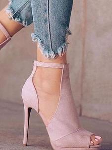 Розовый Высокие каблуки Замша Peep Toe Лоскут Strap Stiletto Каблуки Женщины Обувь
