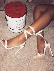 Высокие каблуки сандалии белые открытые пальцы ноги пряжки подробные зашнуровать сандалии обувь женская обувь