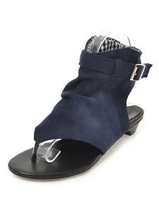 Flip Flop Sandali Blu Perizoma Fibbia Dettaglio Slingbacks Sandali piatti Scarpe estive donna