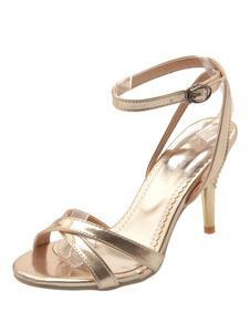 Sandalias de tacón alto Detalle de sandalias de punta abierta con detalle de hebilla dorada Sandalias de vestir de mujer