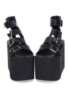 Gothic Lolita Sandal Metallic Buckle Platform PU Negro Lolita Footwear