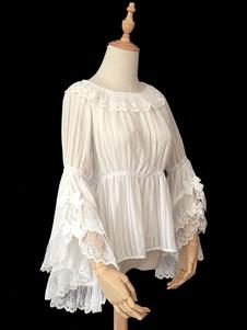 Классический Lolita Блуза Infanta Кружева Trim Ruffle Плиссированные Шифон Lolita Top