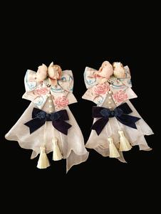 Accessorio per capelli Lolita con fiocco in nappa a forma di fiocco in nappa e fiore in stile cinese