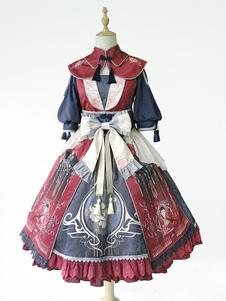 Китайский стиль Lolita Poncho Infanta Вышитые кисточкой Кирпич Красный Лолита