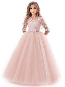 フラワーガールドレス 2020 ソフトピンク 子供フォーマルドレス レース 5分袖 リボン チュール Aライン 女の子のページェントドレス パーティードレス