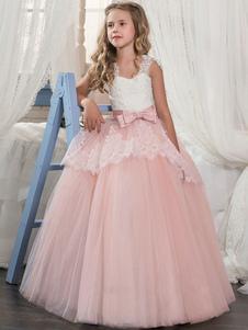 Vestido de Niña con Flor 2020 Rosa Claro Niños Formal Vestido de Encaje Arco Acampanado Niñas Vestido de Desfile