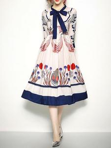 Vestido vintage das mulheres impresso arcos três quartos manga longa vestido
