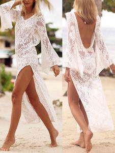Женщины Белый Обложка V V Длинные рукава Сплит Кружева Beachwear