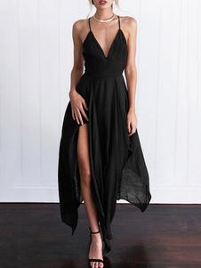 Vestido largo negro  Moda Mujer sin mangas de chifón Vestidos Irregular con cuello en V estilo moderno Verano
