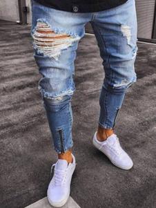 Jeans strappati 2020 Jean taglia forte con cerniera afflitti blu chiaro jeans aderenti
