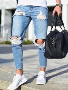 الرجال ممزق جينز زائد الحجم المتعثرة الضوء الأزرق مدبب صالح جان 2020