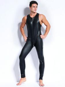 Macacão de homens negros Zipper Up sem mangas PVC Club Wear