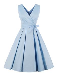 Vestido Vintage 2020 Mulheres Decote Em V Mangas Plissadas Arcos Light Blue Midi Vestido