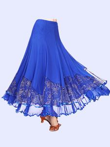 Disfraz Carnaval Falda de traje de baile Falda de baile Royal Blue Mujeres Faldas de baile de entrenamiento floral Carnaval