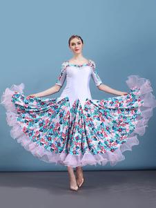 Traje de dança de salão branco floral impressão meia manga mulheres formação dança vestidos