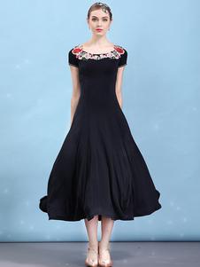 Vestidos de dança de salão preto Floral manga curta mulheres dançando traje