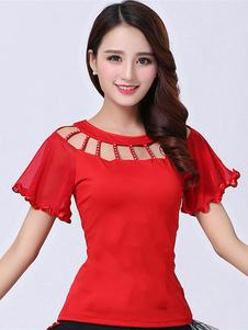 Traje de dança de salão Top vermelho mulheres manga curta cortada formação dança roupas