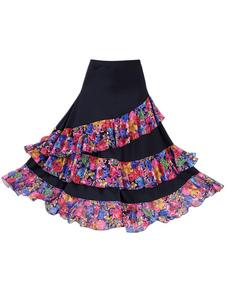 Traje de dança de salão saia preto Floral impressão em camadas Formação de dança Bottoms