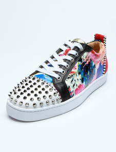 Zapatos de skate para hombres con puntera redonda blanca con cordones, remaches estampados florales, zapatos casuales