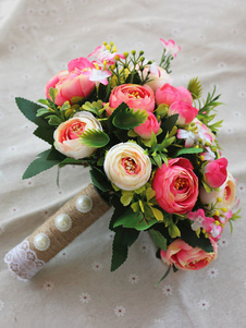 Bouquets De Casamento Vermelho Flores De Pérolas Beading Mão Amarrada Flor De Noiva