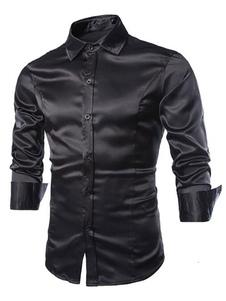 Camisa de manga larga Camisa de satén formal Camisa de vestir regular para hombre
