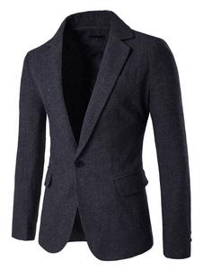 Мужчины Причиной Blazer Notch Lapel One Button Pocket Slim Fit Blazer Jacket