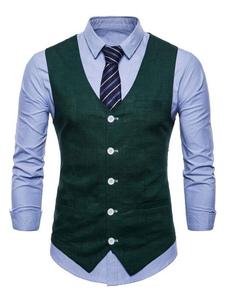 Мужские костюмы Vest V Шея Хлопчатобумажное полотно Карманный обычай Повседневный жилет