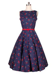 Vestido De Verão 2020 Vintage Mulheres Tinta Azul Verão Vestido Cereja Retrô