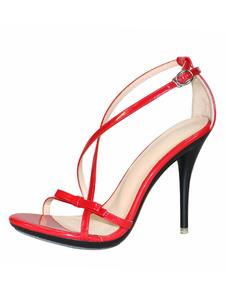 Sandálias De Salto Alto 2020 Vermelho Aberto Toe Com Tiras Bloco Sandálias De Salto Mulheres Vestido Sapatos