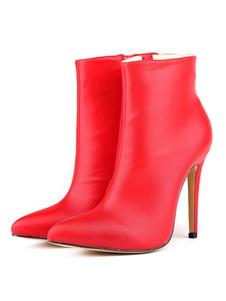 Mulheres Ankle Boots Red Pointed Toe Stiletto Calcanhar Zip Up Botas Botas De Salto Alto