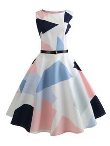 Blanco Vintage Vestido de Estilo de 1950s sin Mangas 2020 Estampado Geométrico Vestido a Media Pierna