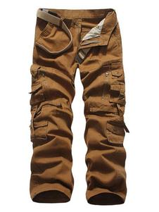 Pantalón táctico de pierna recta con bolsillo de algodón para hombres Cargo Pant