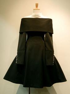 Gothic Lolita OP Vestido Dos tonos plisado botón Lolita Vestido de una pieza